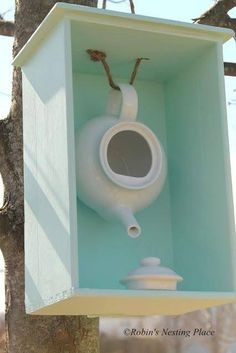 I love this idea!  Use an old tea pot and some rope to make a bird house.  I think a small cup and saucer glued down under the pot would be more interesting.  Found the photo on Facebook by Bottled Up Designs.