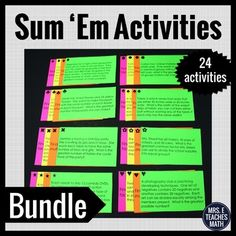 Sum 'Em Activity BundleThis bundle contains 24 sum 'em activities.  The activities span Pre-Algebra to Pre-Calculus.  Click on the links below to see each activityThis bundle is hosted on Dropbox.  Upon purchase, you will receive a pdf with directions and a link to the Dropbox folder where the files can be downloaded. 1.