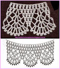 crochet edge for granny Crochet Collar Pattern, Col Crochet, Crochet Lace Collar, Crochet Edging Patterns, Crochet Lace Edging, Basic Crochet Stitches, Crochet Diagram, Crochet Chart, Filet Crochet