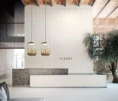 Gallery of Porcelain Tiles - Ronda - 2 Dental Office Design, Modern Office Design, Modern Offices, Spa Design, Spa Interior Design, Modern Interior, Design Lab, House Design, Reception Counter