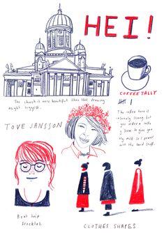 Cadernos de viagem da artista Lizzy Stewart.  Em: Helsinki, Finlândia  www.abouttoday.co.uk/Travel-Diaries