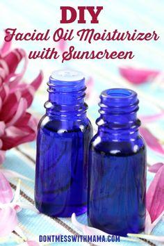 DIY Facial Oil Moisturizer with Sunscreen #DIY #Beauty - DontMesswithMama.com