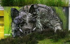 """Wild Boar"" by Bordalo II in Bragança, Portugal"