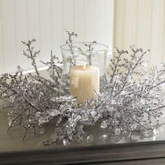 Shindigz Ice Crystal Centerpiece with Glass Globe Christmas Decoration Winter Wonderland Centerpieces, Winter Wedding Centerpieces, Crystal Centerpieces, Winter Wonderland Theme, Christmas Centerpieces, Christmas Decorations, Table Decorations, Christmas Candles, Christmas Home