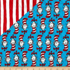 Dr. Seuss Cat in the Hat Cat/Stripe Multi from @fabricdotcom  Designed for Fabri-Quilt, Inc., this double-sided quilted fabric features a floral design on both sides. It is composed of 2-100% cotton fabrics with an inner layer of 3.3 oz polyester batting. Use this fabric to create a unique quilt, quilting projects and totes or handbags. Colors include turquoise, red and white.