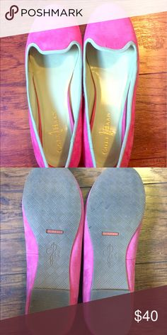 Pink and mint cole Haan flats Cole Haan smoking flat loafers with Nike air tech. super cute pink and mint. Worn only in the house trying to break them in, these run small for the brand. Cole Haan Shoes Flats & Loafers