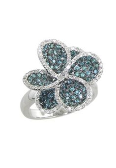 Jardin Bloom Blue and White Diamond Ring, 1.43 TCW #nature #jewelry