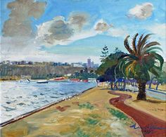 """""""Afternoon Light, Perth Foreshore and Kings Park"""", by Harald Vike Oil on Board, x Kings Park, Australian Art, Art Auction, Perth, New Zealand, 2d, Artworks, Fine Art, Landscape"""