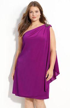 JS Boutique Beaded One Shoulder Chiffon Dress (Plus)