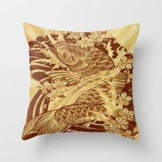 cool unique vintage japanese tattoo koi fish  sun rays vector art Throw Pillow Promoters - $20.00