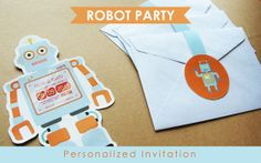 Robot shape invitation for rustic robot theme birthday by Popobell, $12.00