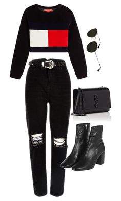 """""""Untitled #1630"""" by glennamaureen ❤ liked on Polyvore featuring Topshop, Yves Saint Laurent and Ray-Ban"""