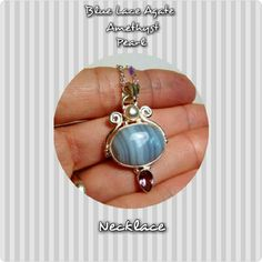 "BEAUTIFUL BLUE LACE AGATE/AMETHY/PEARL NCKL  NWOT I am not kidding when I say this is beautiful! BLUE LACE AGATE, AMETHYST, PEARL NECKLACE ,925 Solid Sterling Silver  Stone size 13 X 18 mm Length. 42 mm Total Wt. 6.3 gm 18"" 925 chain  ONE OF A KIND! Jewelry Necklaces"