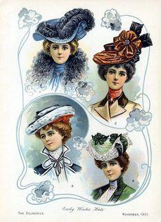 VARHAISTALVIHATUT 1901     Varhaistalven hattuja lehden Delineator marraskuun numerossa.
