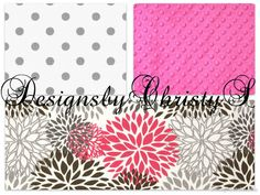 Gray Dots Hot Pink and Pink Gray Flowers Crib by DesignsbyChristyS, $145.00