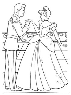 Cinderella meets her prince at the Ball. These princess coloring pages will keep your child entertained for the day. Choose from many princess pages and other Disney cartoon characters. You can print how many copies you want. Easy to download.