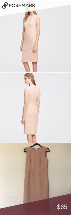 Ann Taylor Blush Midi Sheath Invisible back zipper. Cute piping details. Perfect for wedding season! Ann Taylor Dresses Midi