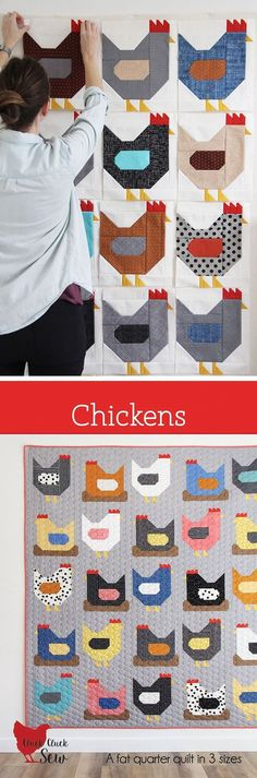 Quilt Pattern - A Fat Quarter friendly pattern in 3 sizes. Conventional, simple piecing, no tricky seams or paper piecing.Chickens Quilt Pattern - A Fat Quarter friendly pattern in 3 sizes. Conventional, simple piecing, no tricky seams or paper piecing. Quilt Block Patterns, Pattern Blocks, Quilt Blocks, Patchwork Patterns, Pattern Fabric, Cute Quilts, Easy Quilts, Quilting Projects, Quilting Designs