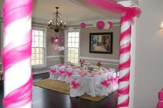 Princess Tea Room too cute	great party idea. I like how they wrapped the columns.