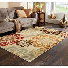 Indoor Beige and Rust Area Rug | Overstock.com Shopping - The Best Deals on 5x8…