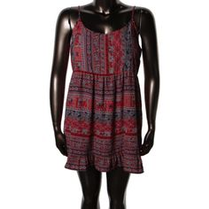 One Clothing Womens Juniors Ruffled Printed Casual Dress