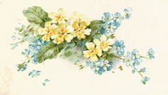 Antique Images: Free Flower Graphic: Vintage Illustration of Blue and Yellow Flowers