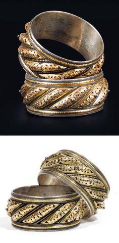 Morocco | Pair of 'Chams ou Qmar' bracelets | Tétouan, mid 19th century | 3 544€ ~ sold (Jun '12)