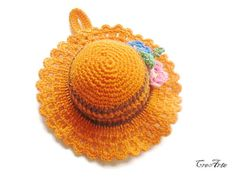 Crochet Pincushion Orange Pincushion Handmade by CreArtebyPatty