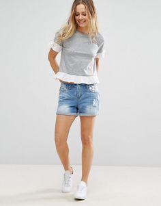 cc8c220d609 Vero Moda Denim Shorts With Lace Pocket Detail