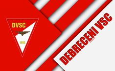 Download wallpapers Debreceni VSC, logo, material design, 4k, DVSC, red white abstraction, Hungarian football club, emblem, Debrecen, Hungary, OTP Bank Liga, football, Nemzeti Bajnoksag