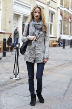 Alek Alexeyeva, London; Knitwear: Topshop | Pants: Burberry | Shoes: Topshop | Bag: Céline | Scarf: Topshop
