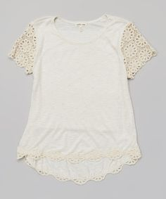 Look what I found on #zulily! Monteau Girl Ivory Crochet Top - Girls by Monteau Girl #zulilyfinds