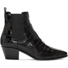 Saint Laurent Black Croc-Embossed Rock Boots ($960) ❤ liked on Polyvore featuring shoes, boots, ankle booties, black, cuban heel chelsea boots, high ankle booties, croc boots, yves saint laurent boots and crocodile boots