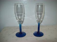 Libbey Blue Stem Flute Champagne Glasses Set of 12 #8795