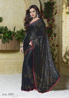 Classy Black Saree Endorsed By Neha Sharma Indian Designer Sarees, Latest Designer Sarees, Lehenga Choli, Sari, Saree Sale, Neha Sharma, Satin Saree, Elegant Fashion Wear, Black Saree