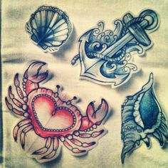 I like the anchor design and the fact that the crab is in the shape of a heart; cute ideas..