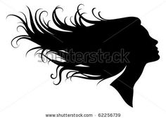 stock vector : silhouette of a girl in profile with long hair