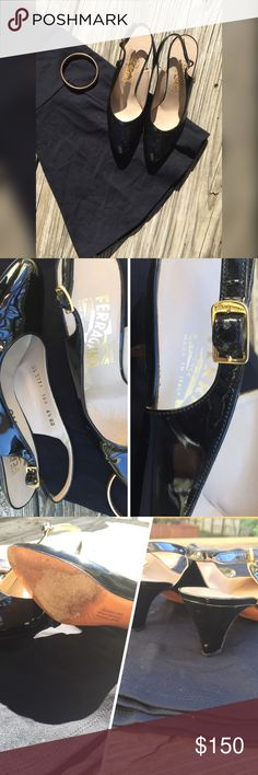 Salvatore Ferragamo Vintage Authentic Vintage Ferragamo sling back patent leather short heel pump. Pre-loved with plenty of love to give. Please see photo: very small spot on right heel. Made in Italy Leather Sole Size: 6 1/2 AA Salvatore Ferragamo Shoes Heels
