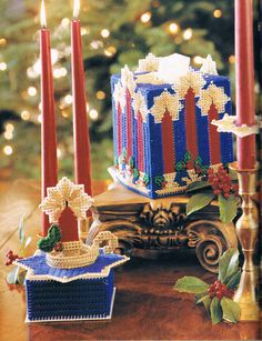 CANDLE COLLECTION by DICK MARTIN 1/7 - FROM MAKE IT MERRY IN PLASTIC CANVAS BOOK 5