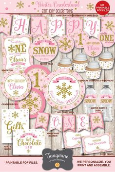 Winter ONEderland Party Girl, Winter ONEderland Birthday Decorations, Pink and Gold 1st birthday decorations, Winter birthday ideas