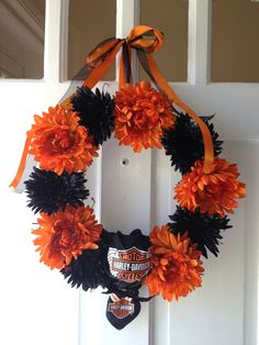 Harley Davidson wreath-I could make this for my mother-in-law