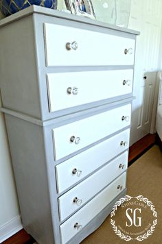 TWO TONED DRESSER DIY-dresser makeover-stonegableblog.com