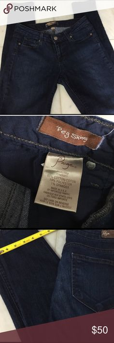 """‼️ KWOT ‼️ Paige Peg Skinny Jeans KWOT. Dark wash Paige peg skinny jeans. Super soft with some stretch. 7"""" from button to crotch. 28"""" inseam. Stretch material can fit one size up or down. Paige Jeans Jeans Skinny"""