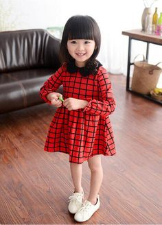 2645c39ba 2016 Retail Plaid Pattern Girl Dress 2016 Red Long Sleeve European Style  Kids Dresses For Baby Girl Clothes High Quality Fashion Girls Clothing From  ...