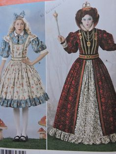 Alice in Wonderland Queen of Hearts Costume Women's Costume Simplicity 2325 Sewing Pattern Sizes 14 to 22 Elaine Heigl Designer Halloween Patterns, Costume Patterns, Adult Costumes, Costumes For Women, Alice In Wonderland Characters, Queen Of Hearts Costume, Full Skirt Dress, Raggedy Ann And Andy, Sewing Patterns For Kids