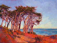 Monterey cypress tree painting in a modern impressionist style, by Erin Hanson
