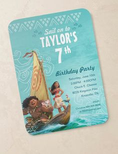 Moana Birthday Party Supplies Invitations