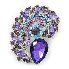 Large Purple/Lavender Glass 'Feather' Corsage Brooch In Silver Plating - 7.5cm Length Avalaya. $28.80. Metal Finish: silver plated. Wear On: apparel, lapel. Occasion: anniversary, cocktail party. Material: glass. Gemstone: swarovski crystal
