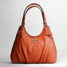 Coach's Madison Leather Maggie Shoulder bag in Terracotta