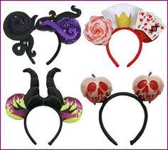 Disney 4 Villains Evil Queen Hearts Maleficent Ursula Headbands Mouse Ear New | eBay